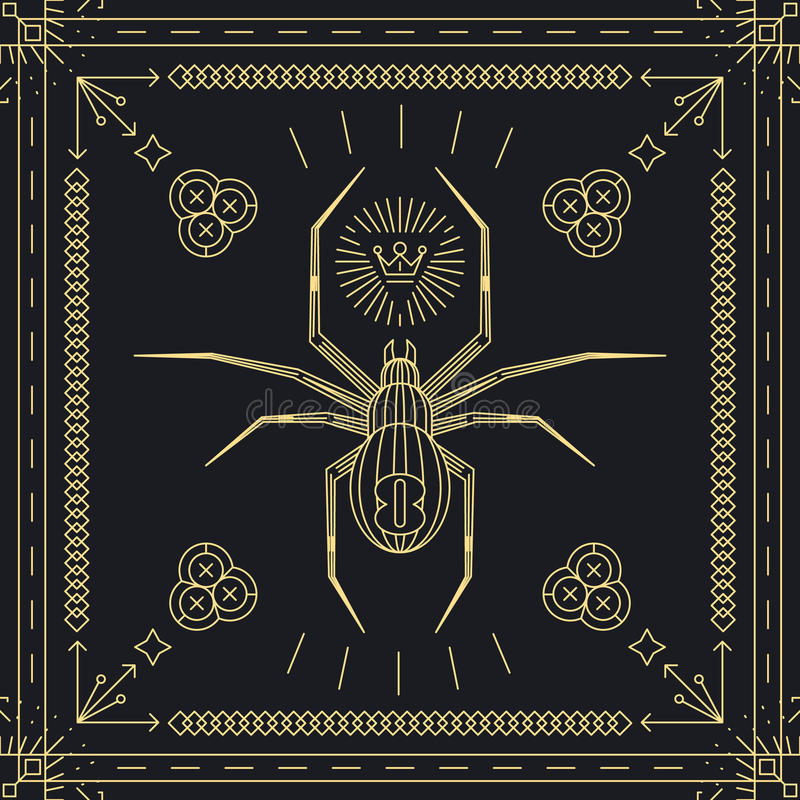 Thin line spider hipster label royalty free illustration