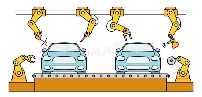 Thin line style car assembly conveyor line. stock illustration