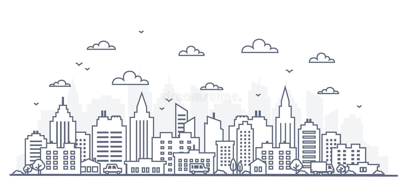 Thin line style city panorama. Illustration of urban landscape street with cars, skyline city office buildings, on light. Background. Outline cityscape. Wide vector illustration