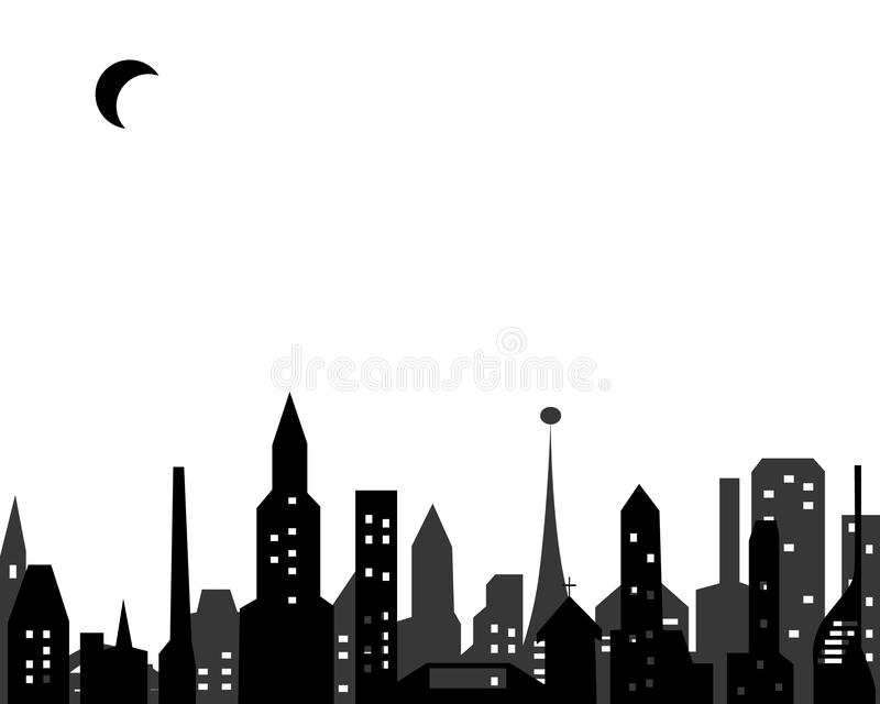 Glowing windows of a big city under the moon stock image