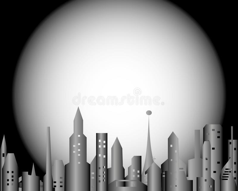 Glowing windows of a big city under the moon royalty free stock photo