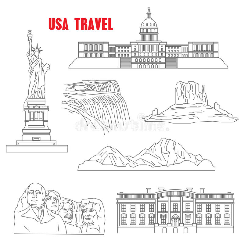 Line Drawing Usa : Thin line style usa landmarks stock vector illustration