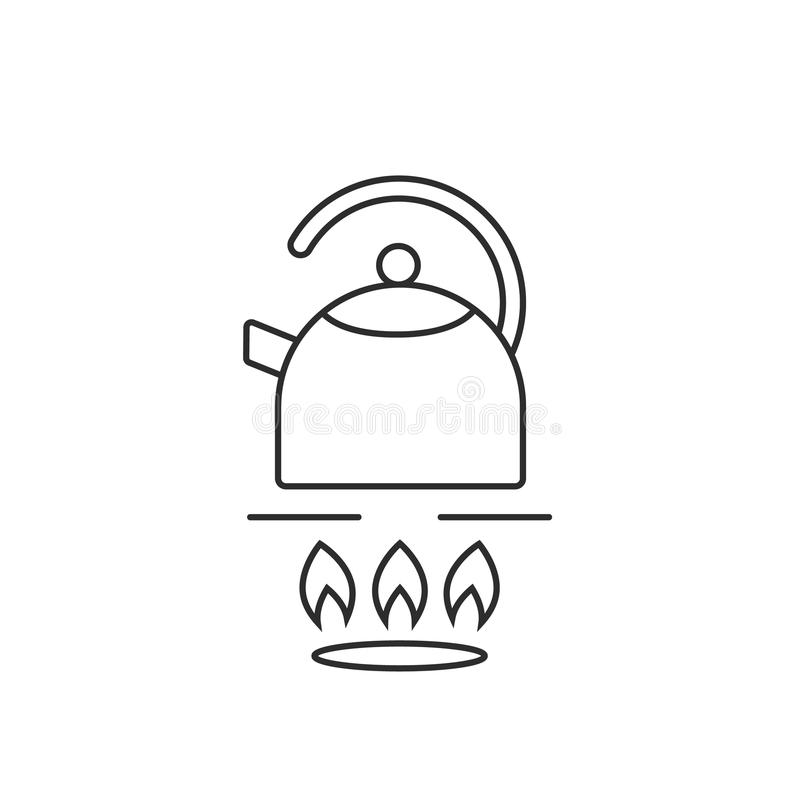 Thin line teapot on gas stove royalty free illustration