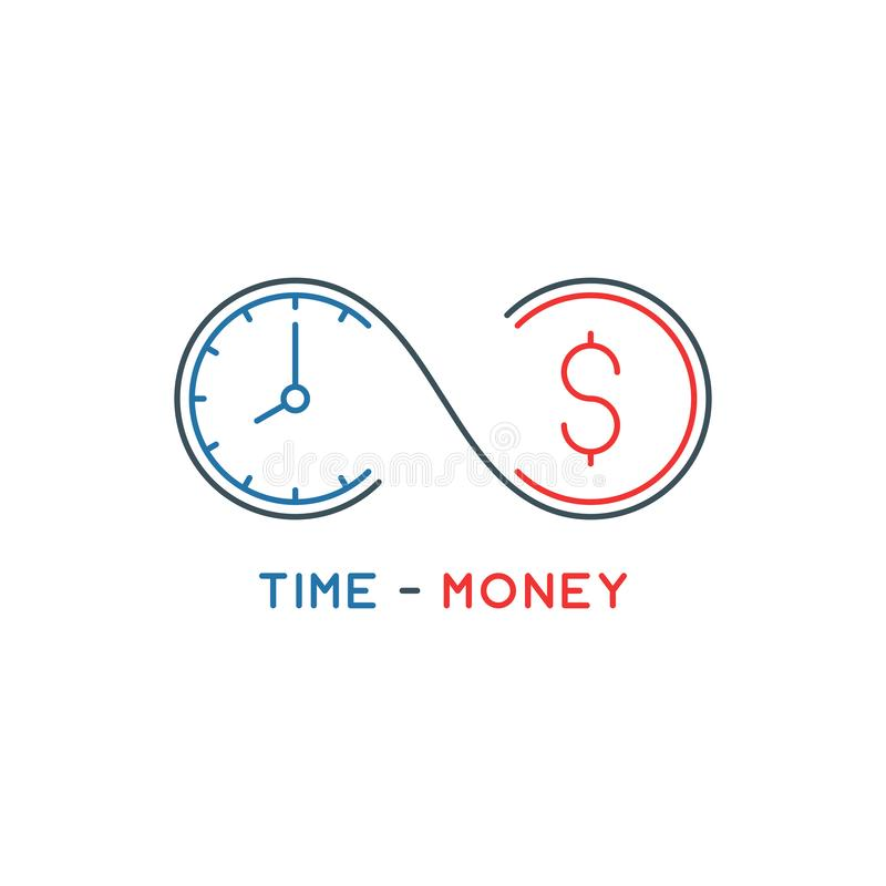 Thin line time is money concept royalty free illustration