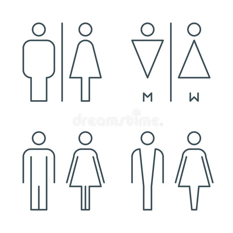 Thin line toilet door signs stock illustration