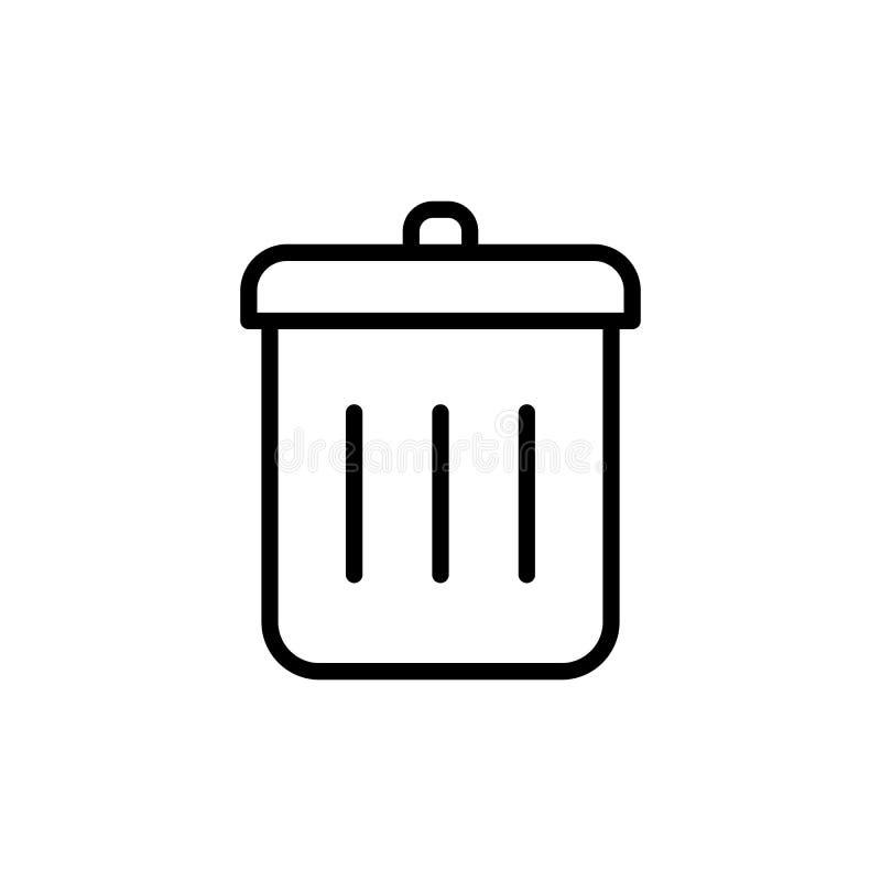 Thin line trash bin icon royalty free illustration