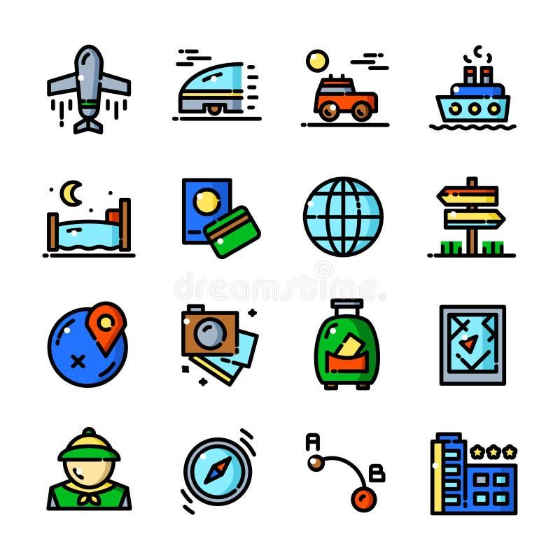 Thin line Travel icons set, vector illustration royalty free illustration