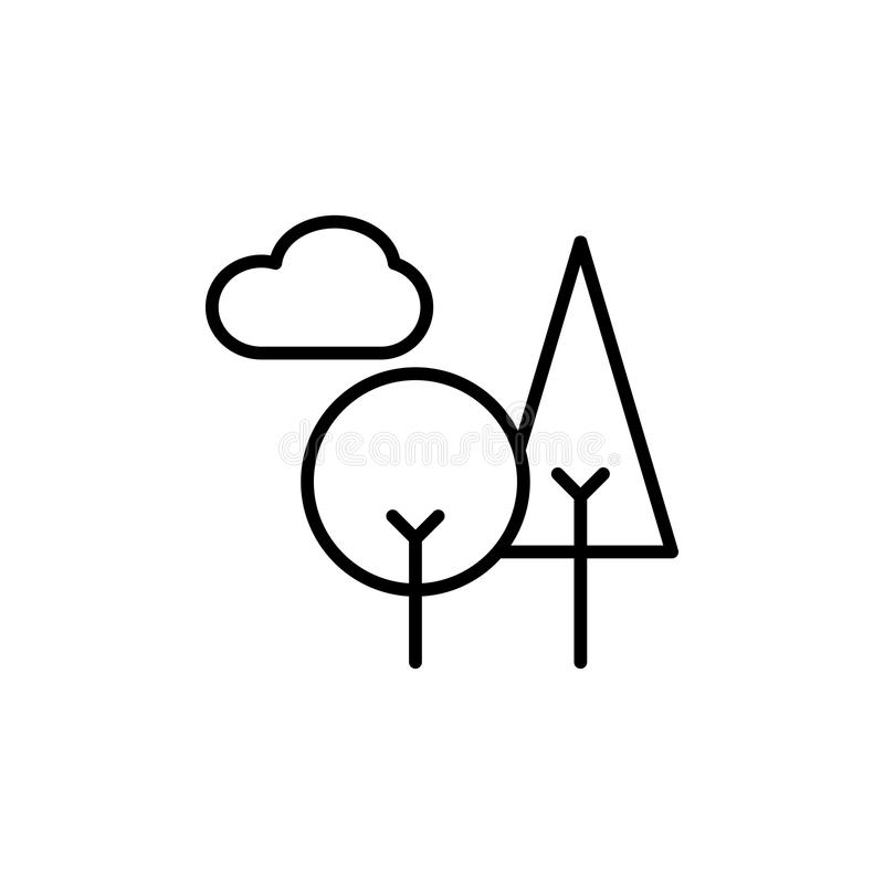 Thin line trees icon stock illustration