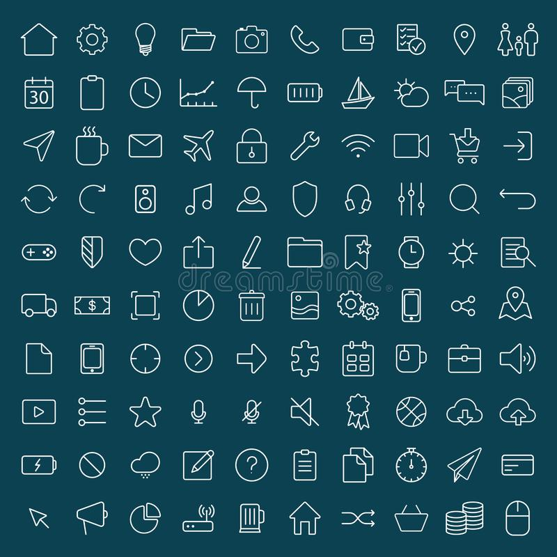 100 thin line universal icons set of finance, marketing, shoppi. Ng, weather, internet, user interface, navigation, media, on dark background on blue background royalty free illustration