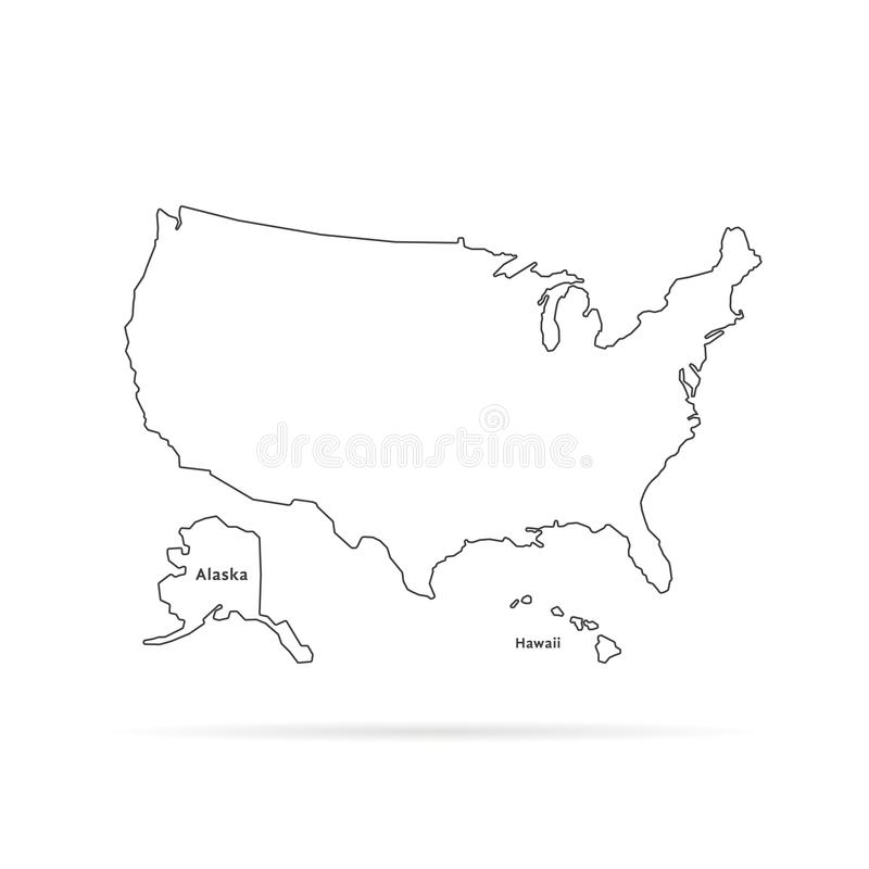 Thin line usa map with other territories and shadow royalty free illustration