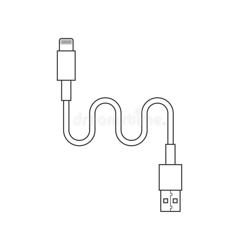 Thin line usb lightning charging cable. Concept of connection, tech, cell phone accessories, recharge, data transmission. flat style trend modern design vector stock illustration