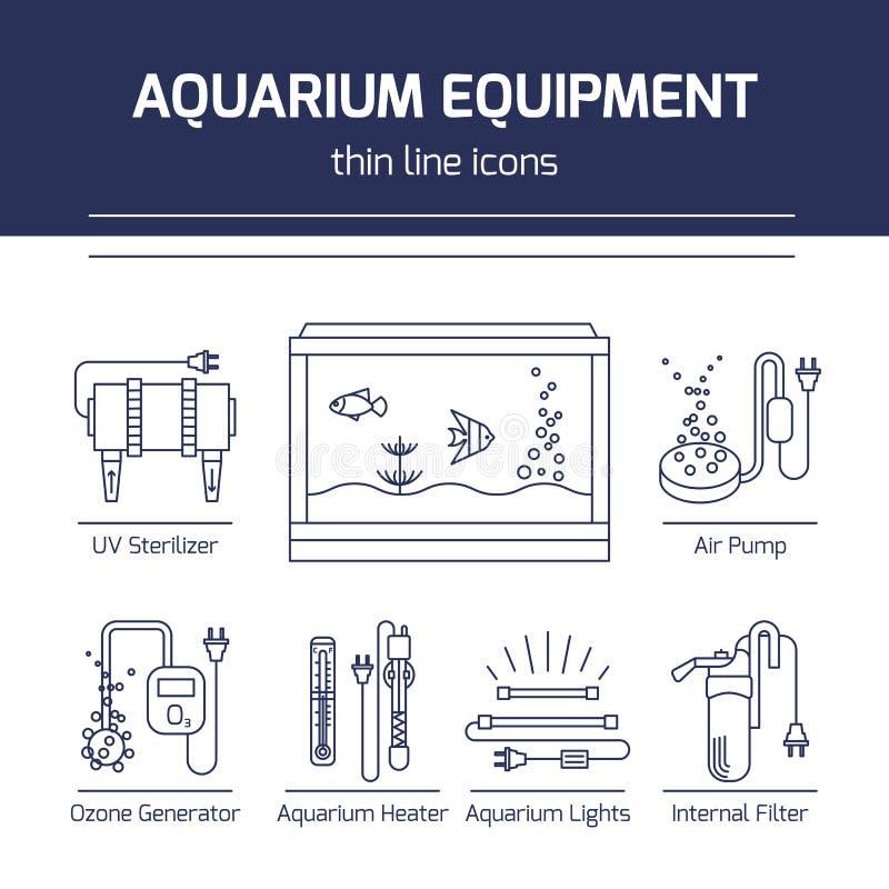 Free Thin Line Vector Icons - Aquarium Equipment Stock Image - 95806261