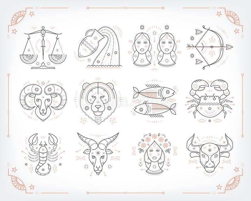 Thin line vector zodiacal symbols. Astrology, horoscope sign, graphic design elements, printing template. Vintage royalty free illustration