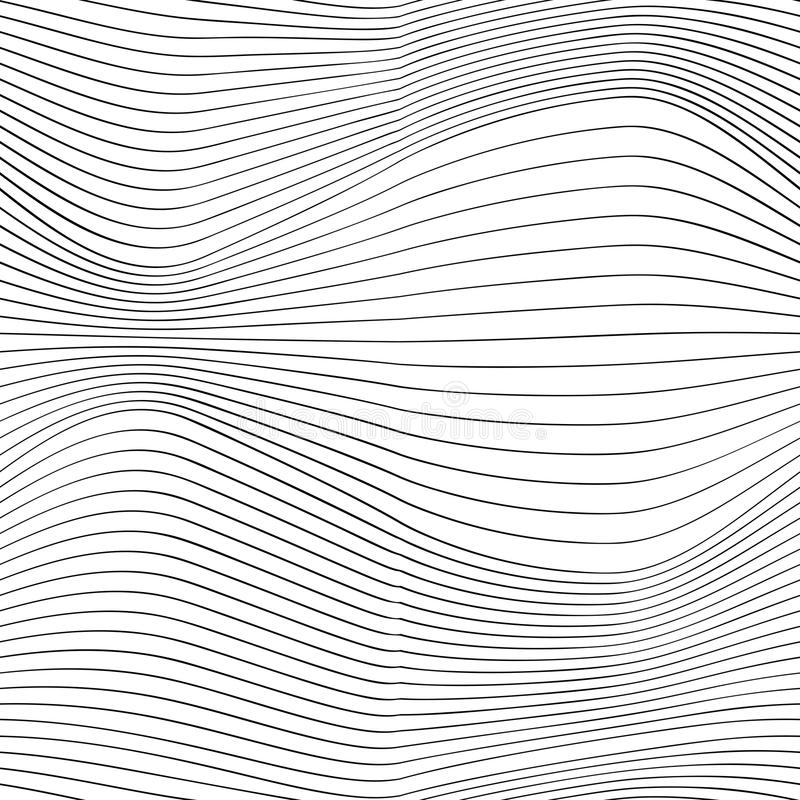 Thin line waves, elegant optical design, vector stock illustration