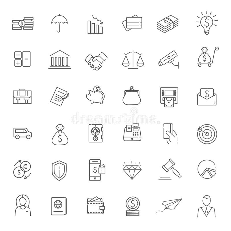 Free Thin Line Web Icon Set - Money, Finance, Payments Royalty Free Stock Photography - 69940797