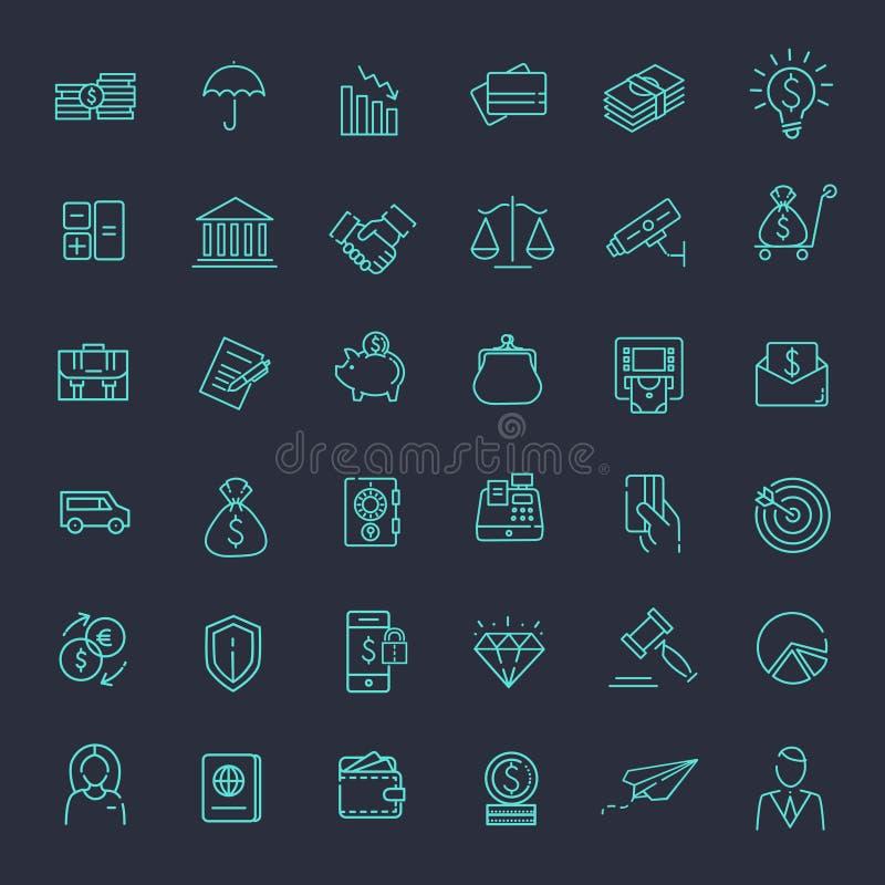 Thin line web icon set - money, finance, payments stock illustration