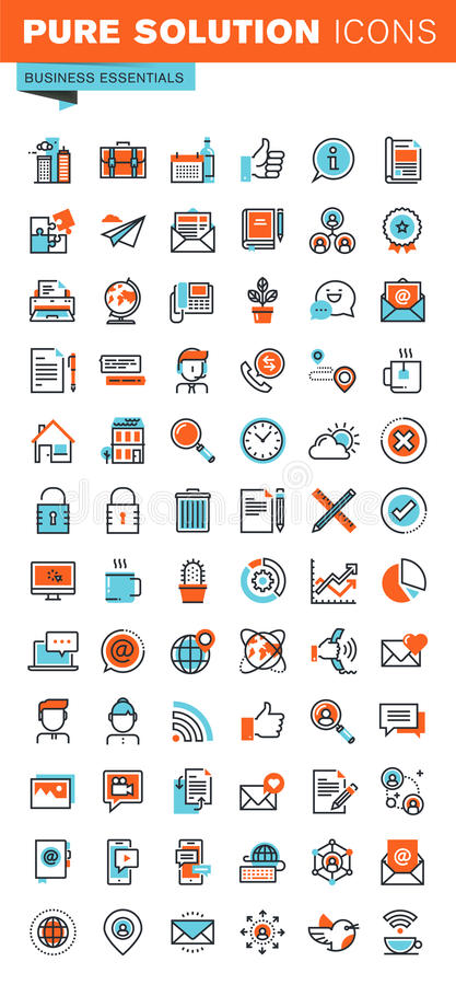 Thin line web icons of business essentials stock illustration
