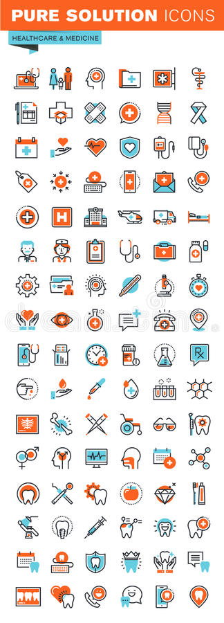 Thin line web icons for medical services and support stock illustration