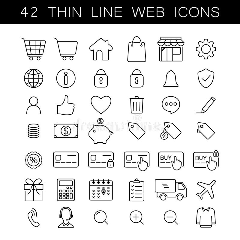 Thin line web icons, online marketplace, online store, shopping. Black stroke, editable. royalty free illustration