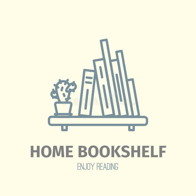 Thin lined book shelf icon. stock illustration