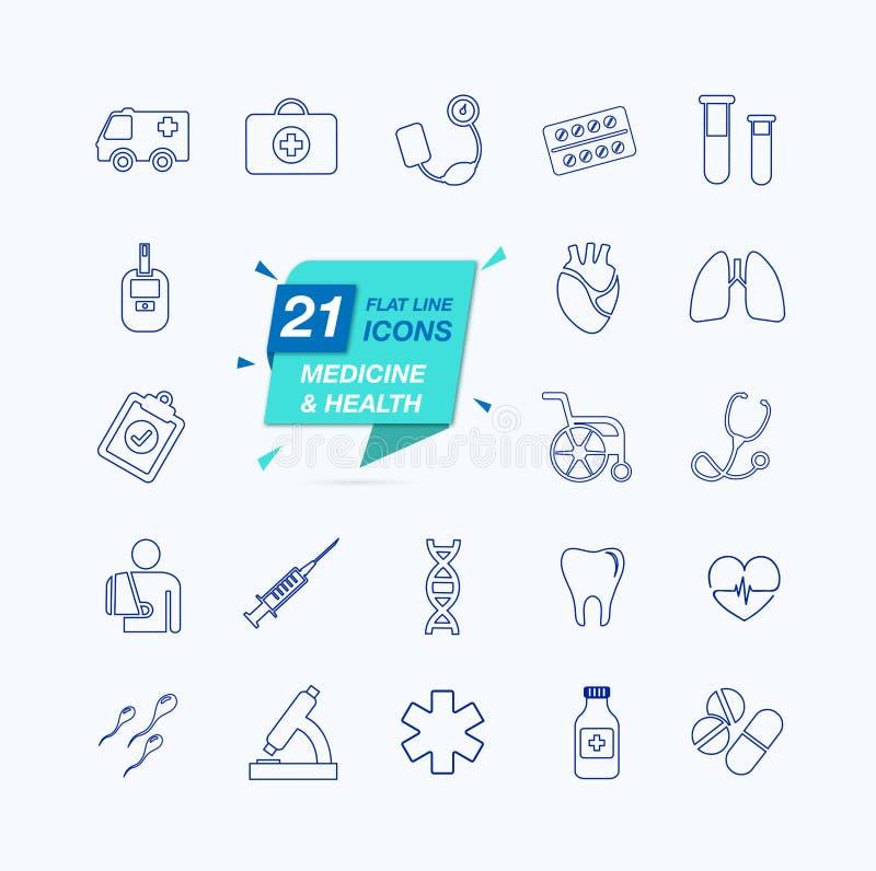 Thin lines web icon set - Medicine and Health symbols. 21 different icons royalty free illustration