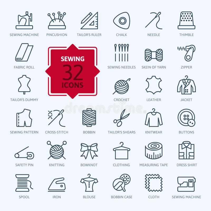 Thin lines web icon set - sewing equipment and needlework vector illustration