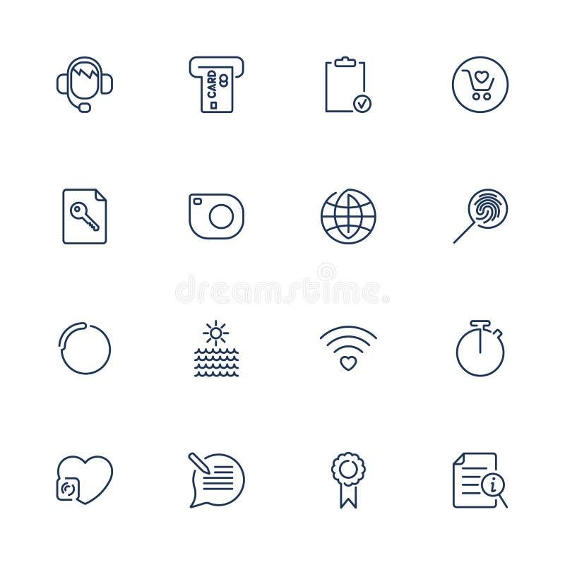 Thin lines web icons set, line icons, web icons stock illustration