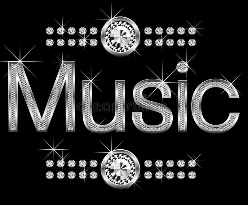Thin metal diamond word music stock illustration