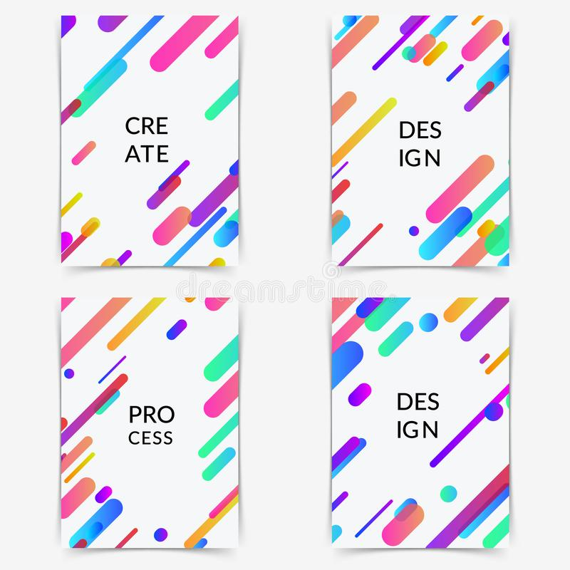 Thin modern trendy colorful halftone gradient neon line poster vector illustration