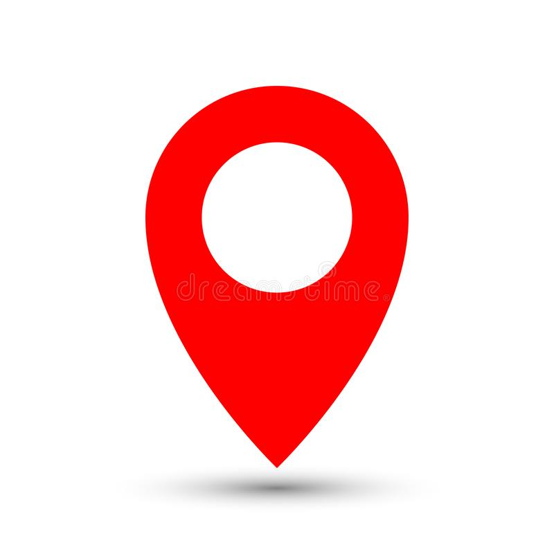 Thin out line red pin location gps icon. Geometric marker flat shape element. Abstract EPS 10 point illustration. Concept vector stock illustration