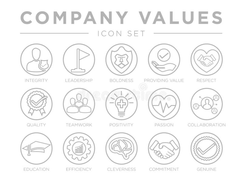 Thin Outline Company Values Round Gray Icon Set. Integrity, Leadership, Boldness, Value, Respect, Quality, Teamwork, Positivity,. Thin Outline Company Values royalty free illustration
