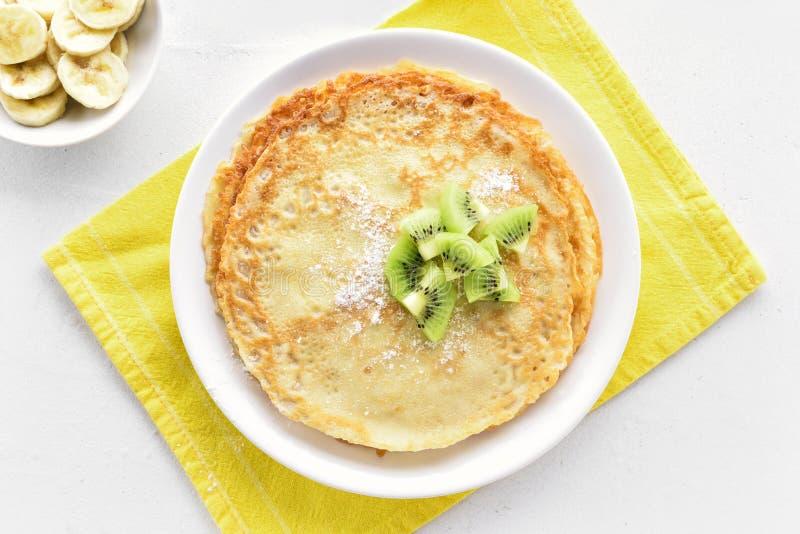 Thin pancakes, sweet crepes stock image