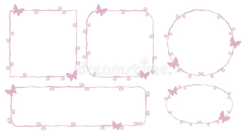 Thin pink princess frame outlines contours lines beauty with little pink butterflies curls spirals cute simple geometric square ci. Thin pink princess frame vector illustration