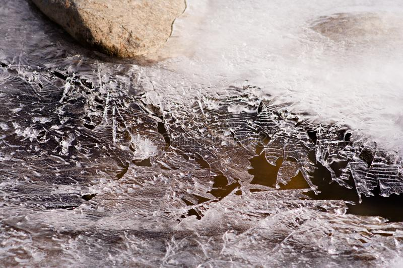 Ice Details, Austria. A thin plate of ice covering a small mountain stream in Austria stock photos