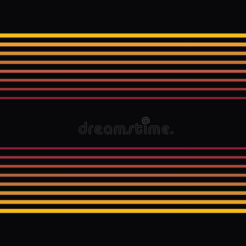 Thin red to gold horizontal vector stripes in linear geometric design. Seamless luminous pattern with black background stock illustration