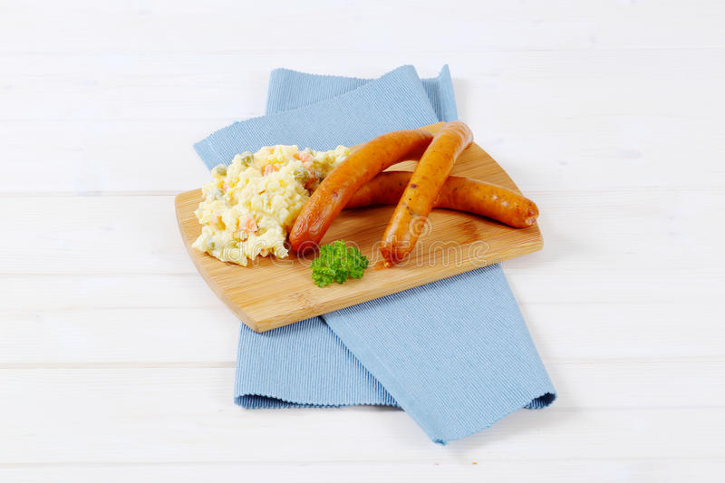 Download Thin Sausages With Potato Salad Stock Image - Image: 83708115