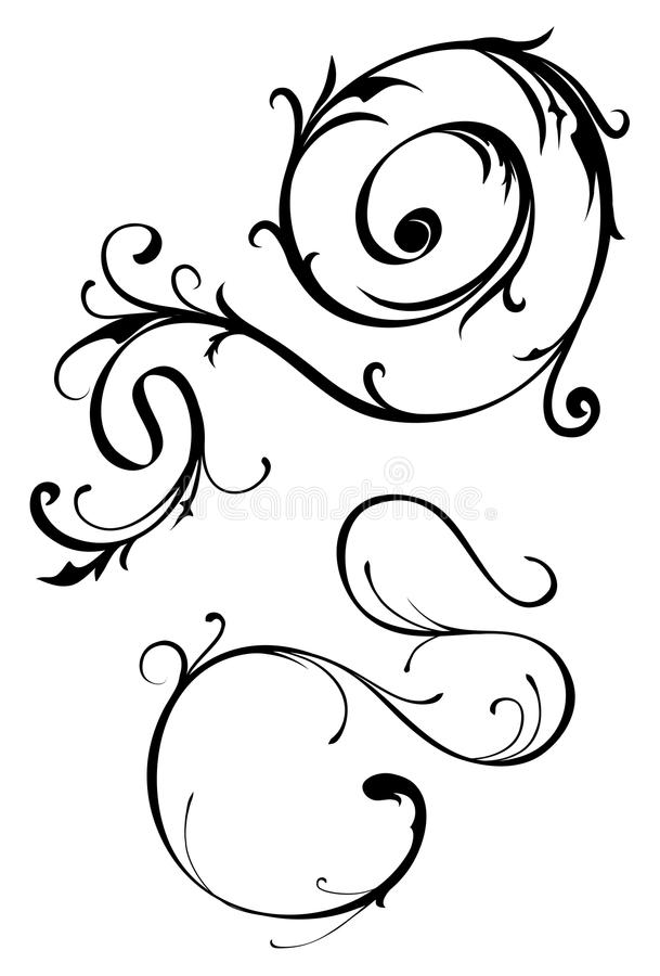 Download Thin Scroll Element Pair stock vector. Illustration of twisting - 10376649