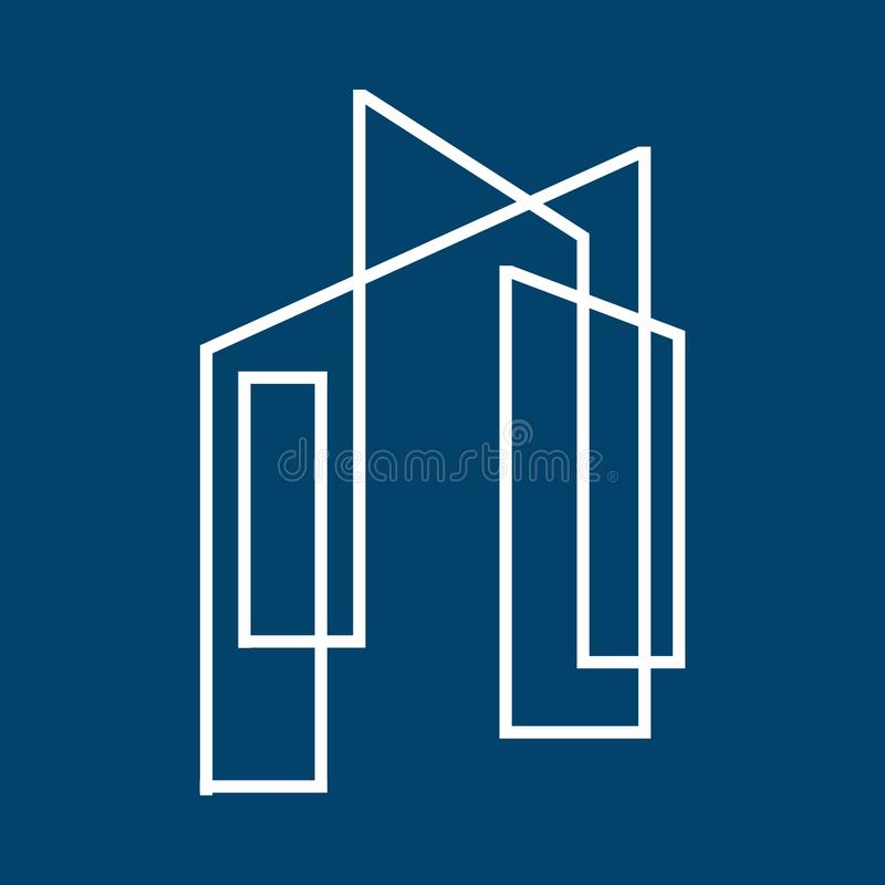 Thin sign of building house Modern Real estate Apartment flat line logo Vector icon. Commercial, condo, home, illustration, linear, mortgage, office, outline stock illustration