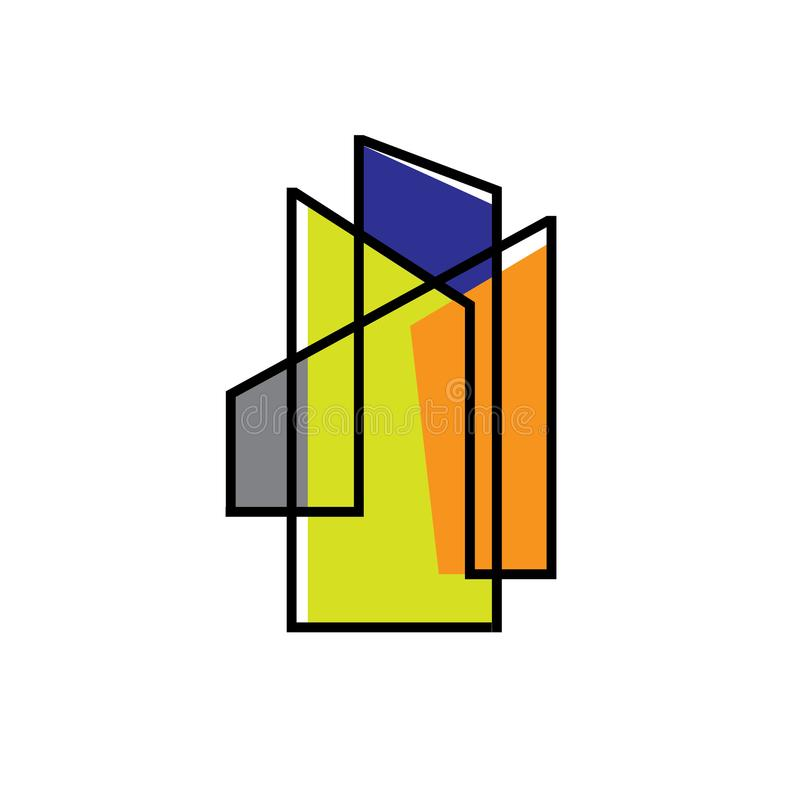 Thin sign of building house Modern Real estate Apartment flat line logo Vector icon. Commercial, condo, home, illustration, linear, mortgage, office, outline vector illustration