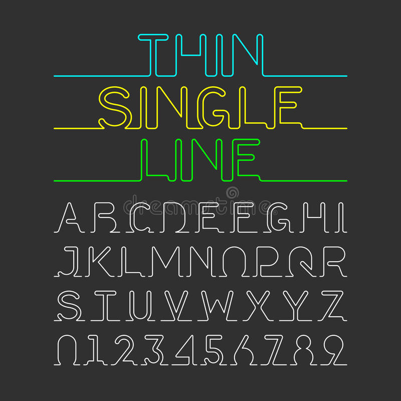 Thin Single Line font. One continuous line modern font, alphabet and numbers vector illustration