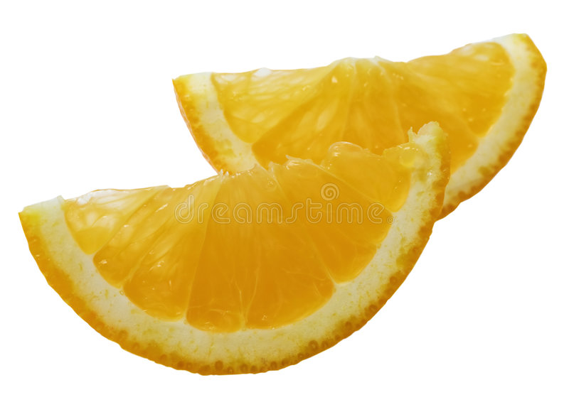 Thin slice of an orange. On a white background stock images