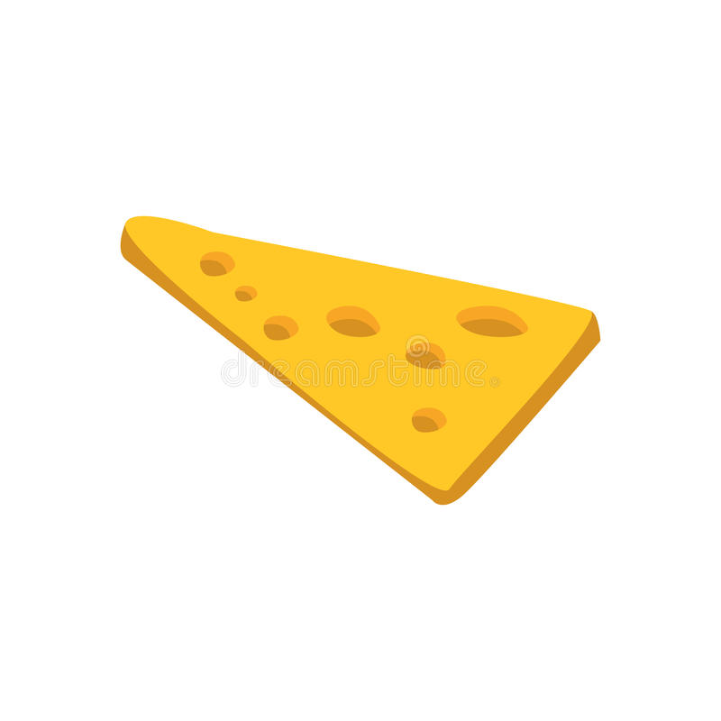 Thin Slice Of Yellow Cheese With Holes Primitive Cartoon Icon, Part Of Pizza Cafe Series Of Clipart Illustrations. Vector Simplified Clip-Art Drawing Element royalty free illustration