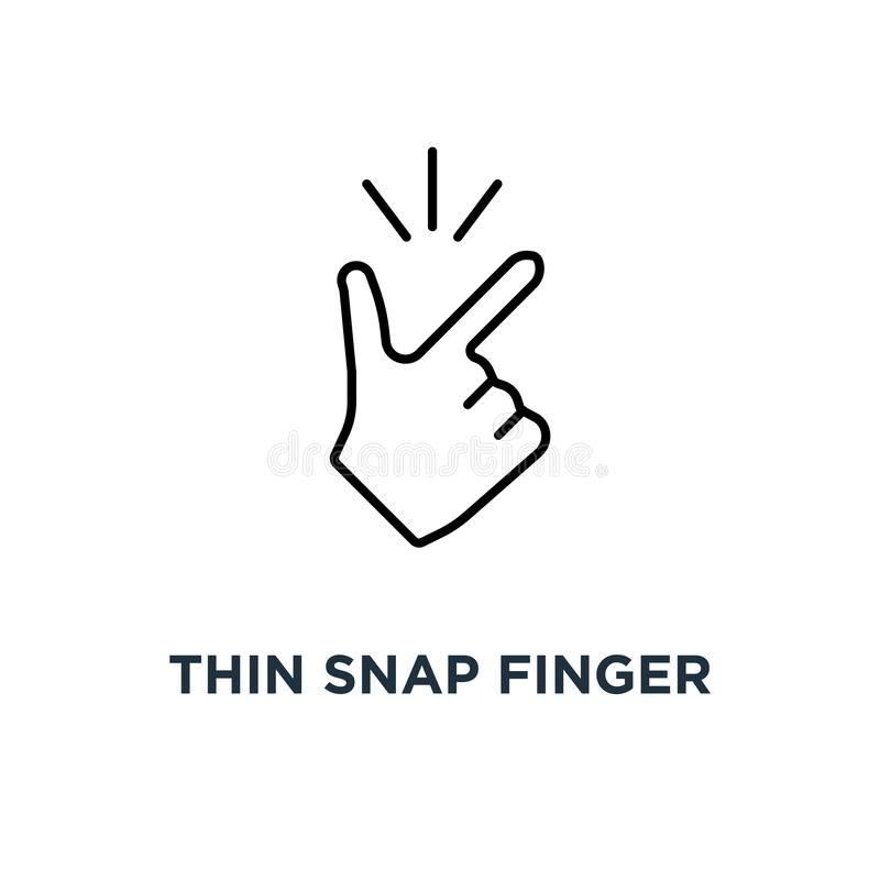 Thin snap finger like easy icon, symbol linear abstract trend simple okey logotype graphic design concept of female or male make. Flicking fingers and popular royalty free illustration