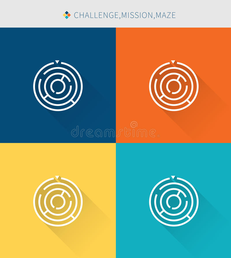 Thin thin line icons set of challenge & mission and maze, modern simple style vector illustration