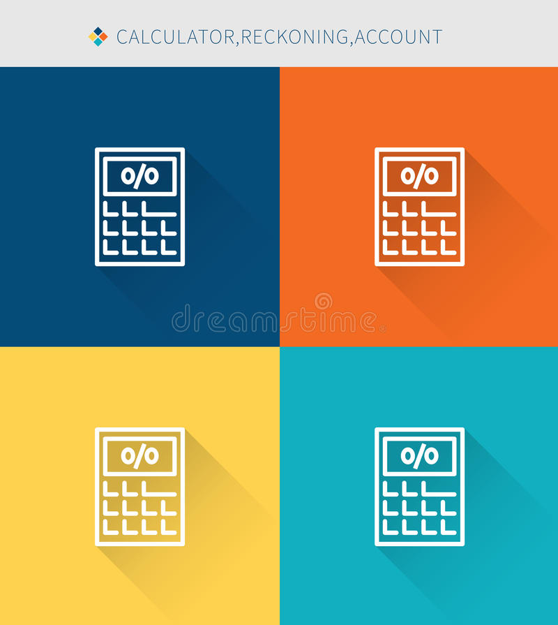 Thin thin line icons set of claculator & reckoning and account, modern simple style vector illustration