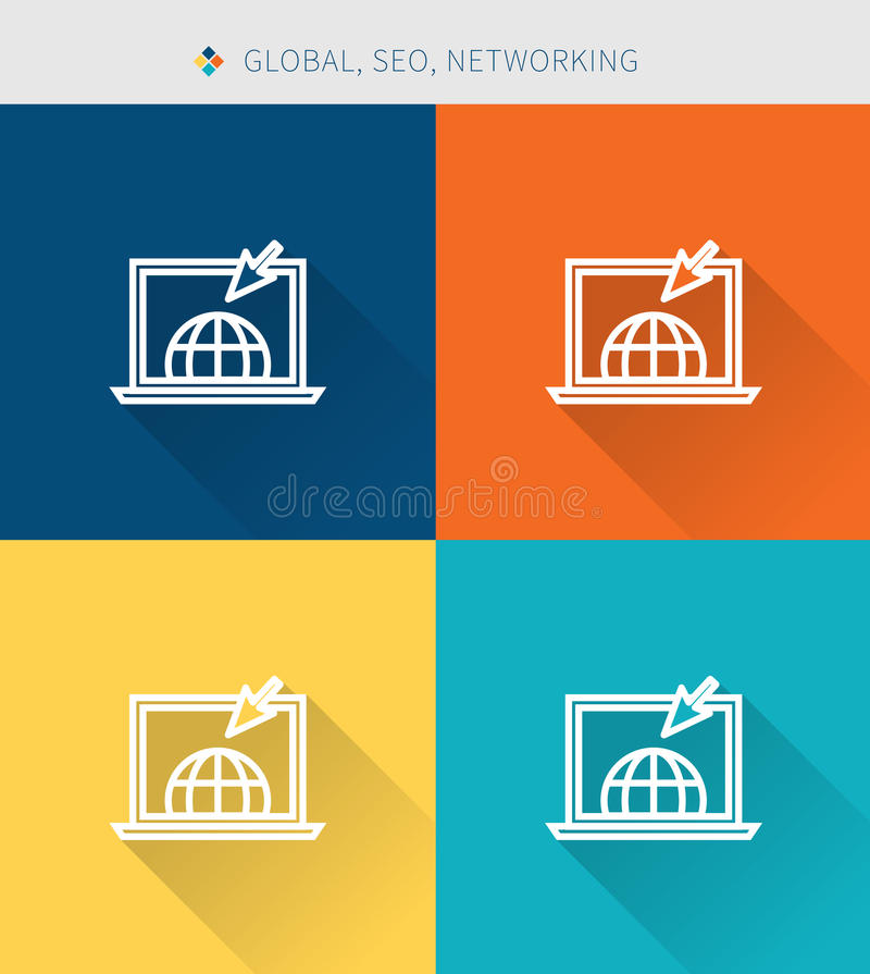 Thin thin line icons set of global & seo and optimization, modern simple style ! stock illustration