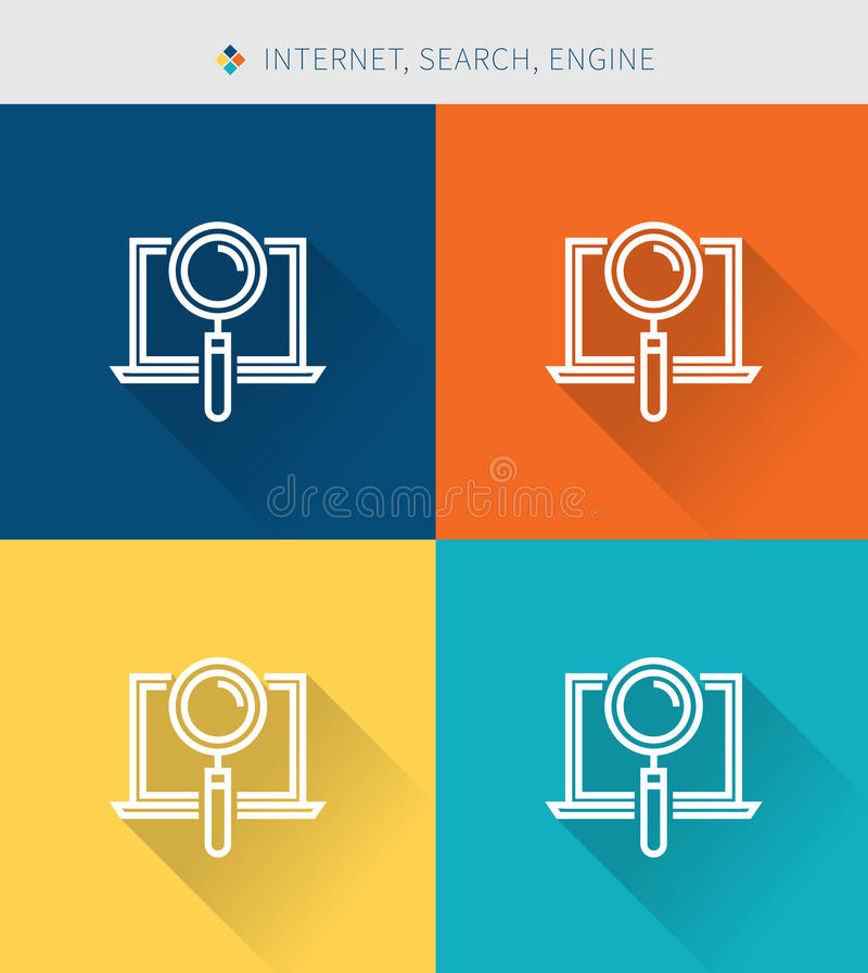Thin thin line icons set of internet & search and engine ,modern simple style vector illustration