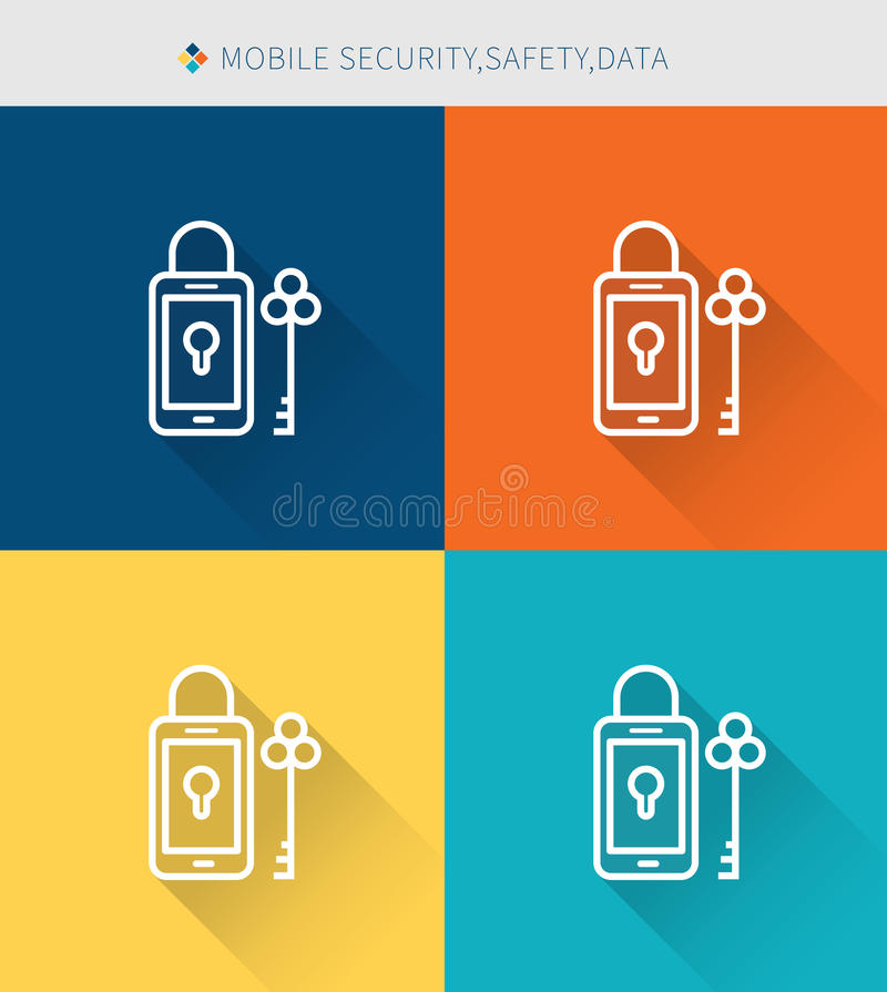 Thin thin line icons set of mobile security & data , modern simple style stock illustration
