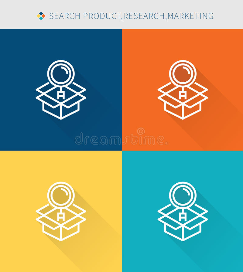 Thin thin line icons set of research and marketing, modern simple style stock illustration