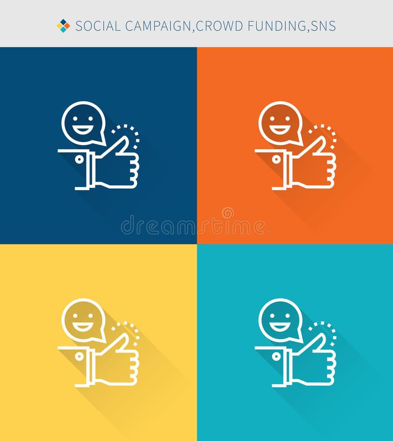 Thin thin line icons set of social campaign&crowd funding and sns , modern simple style vector illustration